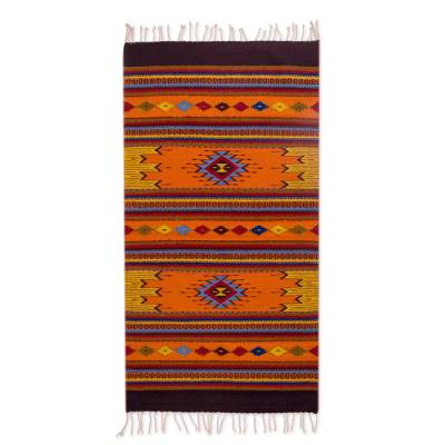Zapotec wool rug, 'Ancestral Colors' (2.5x5) - Handmade Geometric 100% Wool Zapotec Rug from Mexico (2.5x5)