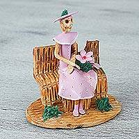 Ceramic statuette, 'Waiting Catrina in Pink' - Handcrafted Ceramic Catrina Statuette in Pink from Mexico