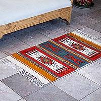 Zapotec wool rug, 'Colorful Heritage' (2x3) - Handwoven 100% Wool Patterned Zapotec Rug from Mexico (2x3)