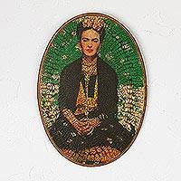 Decoupage wood wall art, 'Frida Lives' - Decoupage Wood Wall Art of Frida Kahlo from Mexico
