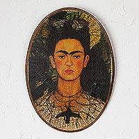 Decoupage wood wall art, 'Self Portrait' - Frida Kahlo Decoupage Wood Wall Art from Mexico