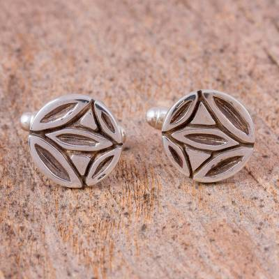 Sterling silver cufflinks, 'Traditional Accent' - Sterling Silver Cufflinks from Mexico