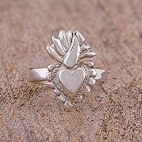 Sterling silver cocktail ring, 'Sagrado Corazon' - Sterling Silver Sacred Heart Cocktail Ring from Mexico