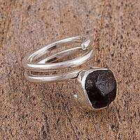 Garnet single stone ring, 'Deep Mystery' - Sterling Silver and Garnet Single Stone Ring from Mexico