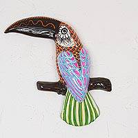 Ceramic wall art, 'Tropical Song' - Multicolor Ceramic Toucan Wall Art from Mexico