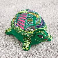 Ceramic decorative box, 'Protective Turtle' - Painted Ceramic Turtle Decorative Box from Mexico