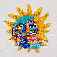 Ceramic wall art, 'Life and Tradition' - Ceramic Sun and Moon Wall Art from Mexico