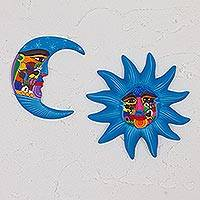 Ceramic wall art, 'Mexican Sky' (pair) - Hand Painted Blue Ceramic Sun and Moon Wall Art (Pair)