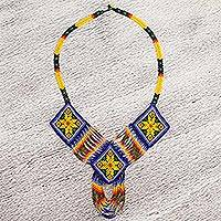 Glass beaded statement necklace, 'Colorful Desert' - Huichol Glass Beaded Pendant Necklace from Mexico