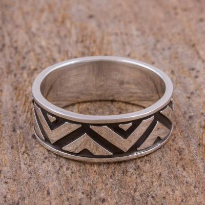 Sterling silver band ring, Zigzag Glimmer