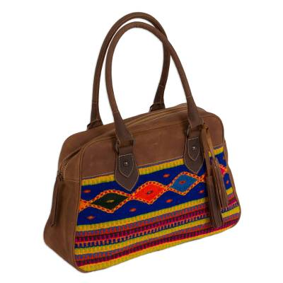 Handcrafted Wool Accent Leather Handbag from Mexico