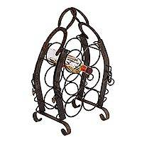 Upcycled horseshoe wine rack, 'Hacienda Horseshoes' - Rustic Hacienda Style Recycled Horseshoe Wine Bottle Rack
