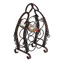 Upcycled horseshoe wine rack,