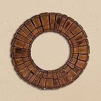 Wood mirror, 'Attractive Reflection' - Handcrafted Circular Wood Wall Mirror from Mexico