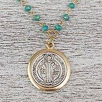 Gold plated crystal pendant necklace, 'Saint Benedict the Protector' - Gold Plated Crystal Saint Benedict Necklace from Mexico