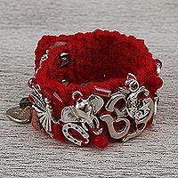 Wristband bracelet, 'Bohemian Meditation' - Bohemian Wristband Charm Bracelet in Crimson from Mexico