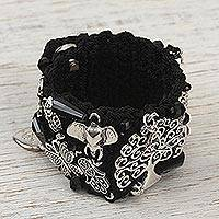 Wristband bracelet, 'Union and Protection' - Handcrafted Bohemian Wristband Bracelet in Black from Mexico