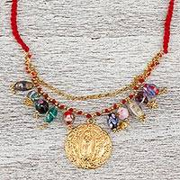 Gold plated crystal pendant necklace, 'Mother Mary' - Religious Gold Plated Crystal Pendant Necklace from Mexico