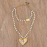 Gold plated cultured pearl pendant necklace, 'Heartfelt Glow' - Gold Plated Cultured Pearl Heart Necklace from Mexico