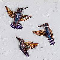 Ceramic wall sculptures, 'Flight of Colors' (set of 3) - Three Ceramic Hummingbird Wall Sculptures from Mexico