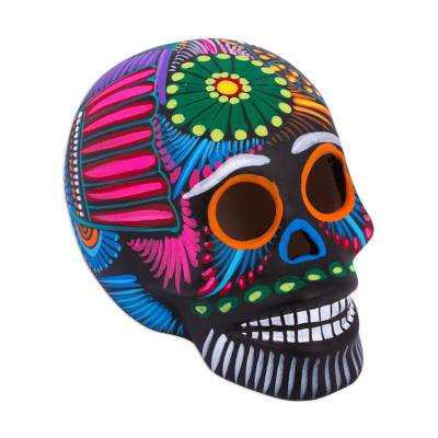Ceramic skull, 'Pre-Hispanic Tradition' - Hand-Painted Ceramic Skull Decorative Accent from Mexico