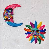 Ceramic sun and moon wall art, 'Celestial Couple' (pair) - Mexican Hand Painted Sun and Moon Ceramic Wall Art