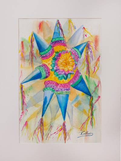 original signed watercolor painting of a mexican piñata mexican