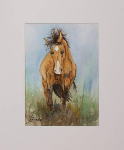 'Running' - Signed Watercolor Painting of a Horse Running Free
