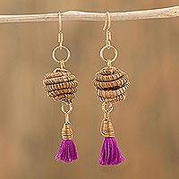 Gold accented pine needle dangle earrings, 'Fiesta Flair' - Gold Accented Cotton and Pine Needle Dangle Earrings