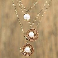 Gold plated cultured pearl pendant necklace, 'Natural Spin' - Gold Plated Necklace with Pine Needles and Cultured Pearls