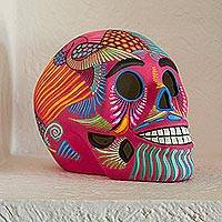 Ceramic skull figurine, 'Death and Tradition' - Pink Decorative Hand Painted Ceramic Skull from Mexico