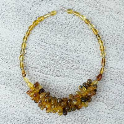 Amber beaded necklace, 'Honey Droplets' - Handmade Beaded Amber Necklace from Mexico