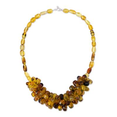 Handmade Beaded Amber Necklace from Mexico