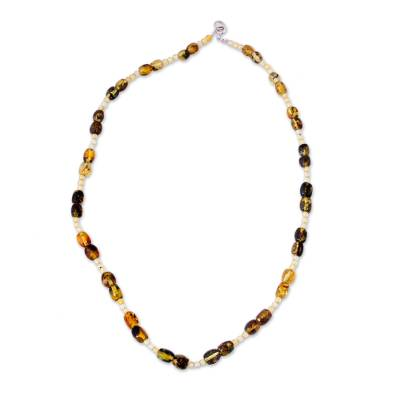 Amber beaded necklace, 'Fresh and Simple' - Mexican Hand Strung Amber Bead Necklace