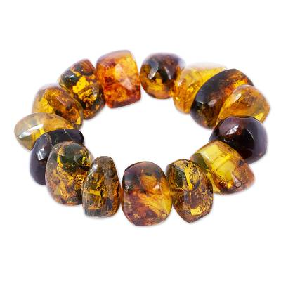 Amber beaded stretch bracelet, 'Honey Stones' - Hand Crafted Amber Bead Stretch Bracelet from Mexico