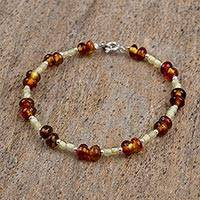 Amber beaded bracelet, 'Silver and Spice' - Mexican Amber and Sterling Silver Handmade Beaded Bracelet