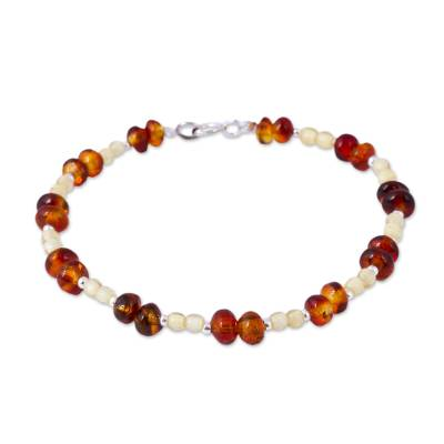 Mexican Amber and Sterling Silver Handmade Beaded Bracelet