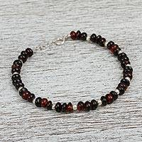 Cherry amber beaded bracelet, 'Night Brilliance' - Sterling Silver and Cherry Amber Beaded Bracelet from Mexico