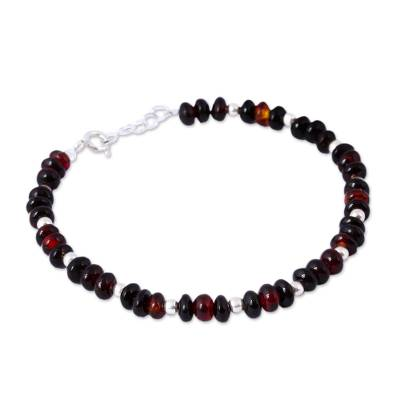 Sterling Silver and Cherry Amber Beaded Bracelet from Mexico