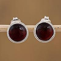 Cherry amber stud earrings, 'Flirty Dots' - Mexican Sterling Silver and Red Amber Stud Earrings