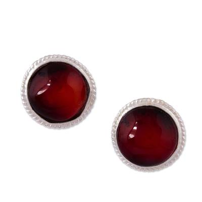 Mexican Sterling Silver and Red Amber Stud Earrings