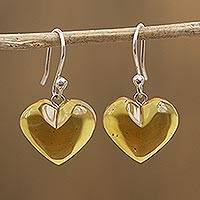 Amber dangle earrings, 'Hearts of Nectar' - Mexican Sterling Silver and Amber Heart Dangle Earrings