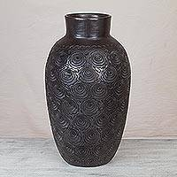 Ceramic decorative vase, 'Oaxaca Renaissance' - Barro Negro Ceramic Decorative Vase from Mexico
