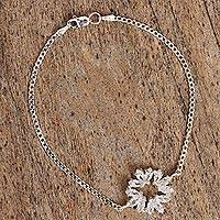 Sterling silver pendant bracelet, 'Splendorous Sparkle' - Sterling Silver and Zirconite Pendant Bracelet from Mexico