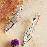Sterling silver drop earrings, 'Symmetry and Beauty' - Geometric Sterling Silver Drop Earrings from Mexico