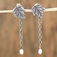 Cultured pearl dangle earrings, 'Arbor Drops' - Leaf-Shaped Cultured Pearl Dangle Earrings from Mexico