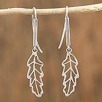 Sterling silver dangle earrings, 'Leaves of Light' - Leaf-Shaped Sterling Silver Dangle Earrings from Mexico