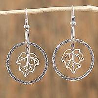 Sterling silver dangle earrings, 'Circled Nature' - Circular Leaf Sterling Silver Dangle Earrings from Mexico