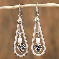 Cultured pearl dangle earrings, 'Pearly Drops' - Leafy Cultured Pearl Dangle Earrings from Mexico