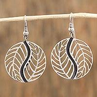 Sterling silver dangle earrings, 'Entwined Leaves' - Leafy Sterling Silver Dangle Earrings from Mexico